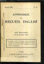 Appendice Au Recueil Dalloz N°16 Annee 1933 - Supplement Au Recueil Hebdomadaire Dalloz N°3-1934 - Lois Nouvelles 26-30 Decembre 1933. - Couverture - Format classique