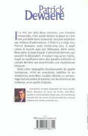 Patrick Dewaere ; La Frayeur De Vivre - 4ème de couverture - Format classique