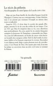 Le récit de pèlerin - 4ème de couverture - Format classique