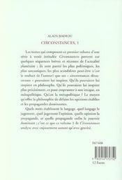 Circonstances 1 - 4ème de couverture - Format classique