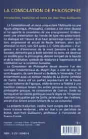 La consolation de philosophie - 4ème de couverture - Format classique
