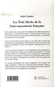 Les trois siècles de franc-maçonnerie française - 4ème de couverture - Format classique