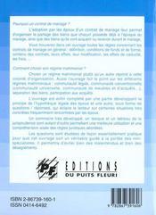 Contrats de mariage et régimes matrimoniaux ; choix, application, conséquences (2e édition) - 4ème de couverture - Format classique