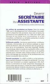 Devenir Secretaire Ou Assistante 1999 - 4ème de couverture - Format classique