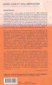 Marie curie et son laboratoire ; sciences et industrie de la radioactivite en france - 4ème de couverture - Format classique