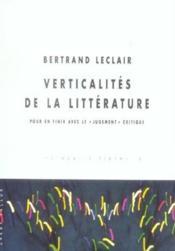 Verticalites De La Litterature - Couverture - Format classique