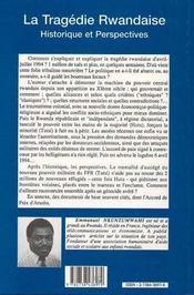 La Tragedie Rwandaise ; Historique Et Perspectives - 4ème de couverture - Format classique