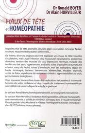 Maux de tête et homéopathie - 4ème de couverture - Format classique