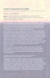 Chimie et industrie en europe ; l'apport des societes savantes industrielles du xix siecle a nos jours - 4ème de couverture - Format classique