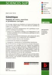 Génétique ; théorie, analyse et ingénierie ; rappels de cours, exercices et problèmes corrigés (4e édition) - 4ème de couverture - Format classique