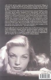 Lauren bacall seule - 4ème de couverture - Format classique
