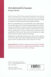 Droit Administratif De L'Economie Edition 2001 - 4ème de couverture - Format classique