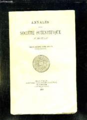 ANNALES DE LA SOCIETE SCIENTIFIQUE DE BRUXELLES. 33em ANNEE 1908 - 1909. PREMIER FASCICULE. - Couverture - Format classique