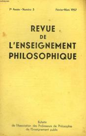 REVUE DE L'ENSEIGNEMENT PHILOSOPHIQUE, 7e ANNEE, N° 3, FEV.-MARS 1957 - Couverture - Format classique