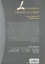 La conception américaine de la laïcité - 4ème de couverture - Format classique