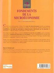 Fondements de la microeconomie - volume 1 les choix individuels - 4ème de couverture - Format classique