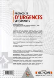 Protocoles d'urgences vétérinaires ; manuel pratique - 4ème de couverture - Format classique