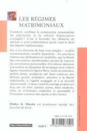 Les régimes matrimoniaux (2e édition) (2e édition) - 4ème de couverture - Format classique