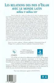 Les relations des pays d'islam avec le monde latin (milieu xie-milieu xiiie) - 4ème de couverture - Format classique