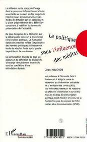 La politique sous l'influence des médias - 4ème de couverture - Format classique