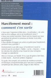 Harcelement moral comment s'en sortir - 4ème de couverture - Format classique