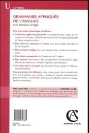 Grammaire appliquée de l'anglais ; avec exercices corrigés (4e édition) - 4ème de couverture - Format classique