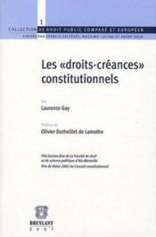 Les droits-créances constitutionnels - Couverture - Format classique