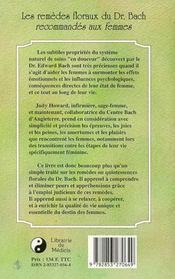 Les Remedes Floraux Du Docteur Bach Recommandes Aux Femmes - 4ème de couverture - Format classique