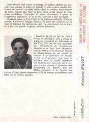 Tradition théâtrale et modernité en Algérie - 4ème de couverture - Format classique