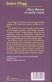 Mary Burnet ; et autres contes - 4ème de couverture - Format classique