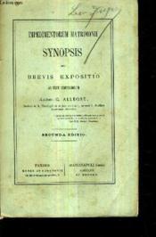 Impedimentorm Matrimonii Synopsis Seu Brevis Expositio Ad Usul Seminariorum / Secunda Edition. - Couverture - Format classique