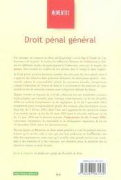 Droit Penal General - 4ème de couverture - Format classique
