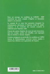 Algebre Et Geometrie Pour Le Caplp2-Msp Cours Et Exercices Corriges - 4ème de couverture - Format classique
