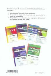 Controle Continu ; Mathématiques ; Bts Groupement B - 4ème de couverture - Format classique
