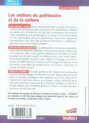 Les metiers du patrimoine et de la culture - 4ème de couverture - Format classique
