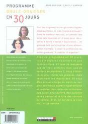 Programme brule-graisses en 30 jours - 4ème de couverture - Format classique