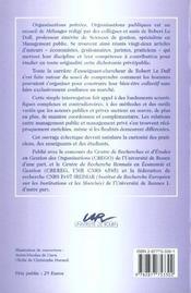 Organisations Privees Et Organisations Publiques. Melanges Robert Le Duff - 4ème de couverture - Format classique