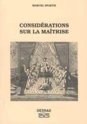 Consideration Sur La Maitrise - Couverture - Format classique