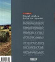 Choix et entretien des tracteurs agricoles - 4ème de couverture - Format classique