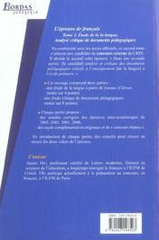 L'epreuve de francais t.2 ; analyse critique de documents pedagogiques - 4ème de couverture - Format classique