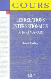 Les Relations Internationales De 1945 À Nos Jours - Intérieur - Format classique