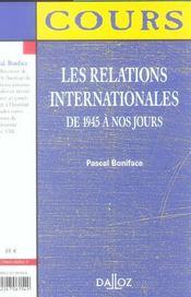 Les Relations Internationales De 1945 À Nos Jours - 4ème de couverture - Format classique