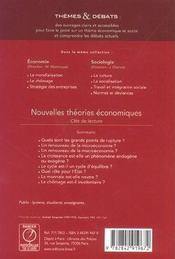 Nouvelles théories économiques ; cles de lecture - 4ème de couverture - Format classique