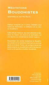 Méditations bouddhistes - 4ème de couverture - Format classique