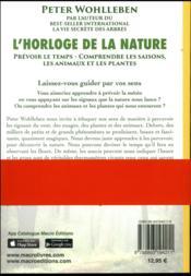 L'horloge de la nature (édition 2017) - 4ème de couverture - Format classique