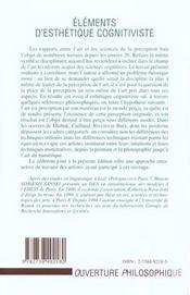 Elements D'Esthetique Cognitiviste - 4ème de couverture - Format classique