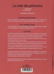 La cote des prénoms en 2007 : connaître la mode pour bien choisir un prénom - 4ème de couverture - Format classique