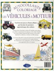 Les véhicules à moteur ; autocollants et coloriages - 4ème de couverture - Format classique