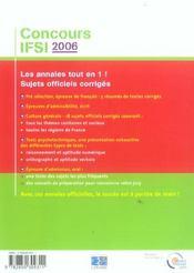 Concours ifsi 2006 sujets officiels et corriges - 4ème de couverture - Format classique
