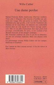 Une Dame Perdue - 4ème de couverture - Format classique